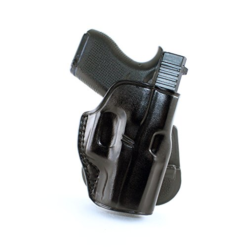 Premium Leather OWB Paddle Holster with Open Top Fits, Glock 43, Right Hand Draw, Black Color - Paddle Hand Right Holster