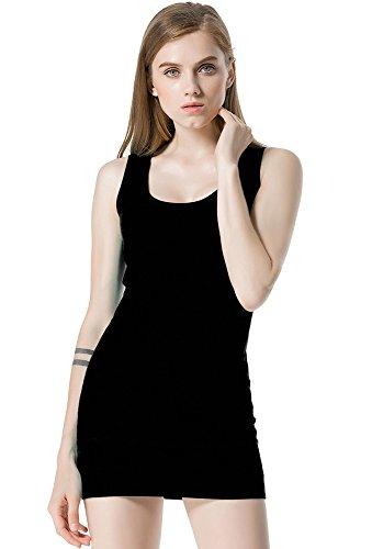 Moxeay Womens Extra Long Stretch Cotton Tank Top (Medium, Black)