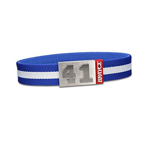 "fan products of BRAYCE Team Colors: Customize your jersey bracelet blue/white with your player number (0-99) 7 sizes (6,3"" – 8,7""): Hockey, Baseball, Basketball & Football"