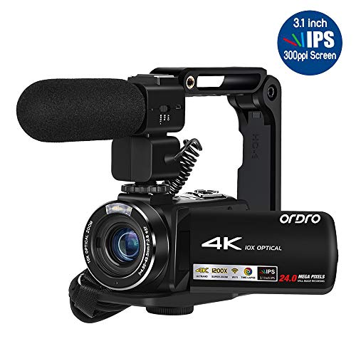 Ordro AX15 4K Camcorder Ultra HD WiFi Video Camera(10X Optical Zoom, 3.1 Inch IPS Touch Screen,Microphone,Wide Lens, Lens Hood)- Black