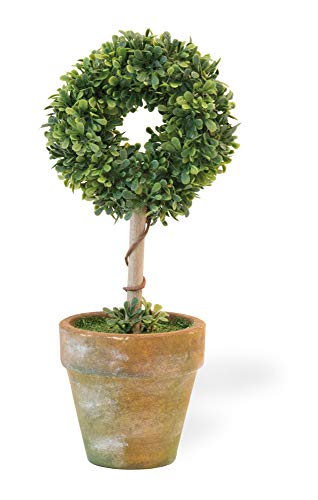 Boston International Decorative Faux Potted Topiary Plant, 8-Inches, Boxwood Circle
