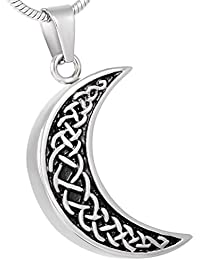 Celtic Moon Urn Necklace for Ashes - Cremation Memorial...