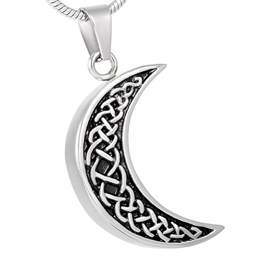 Celtic Moon Urn Necklace for Ashes -Cremation Jewelry Memorial Keepsake Pendant - Funnel Kit Included ()