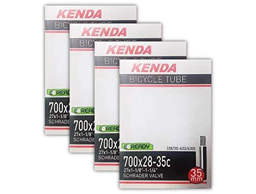 (Kenda 700x28-35c (27x1-1/8-1/4) 35mm Schrader Valve Bike Tube Bundle - Four (4) Pack )