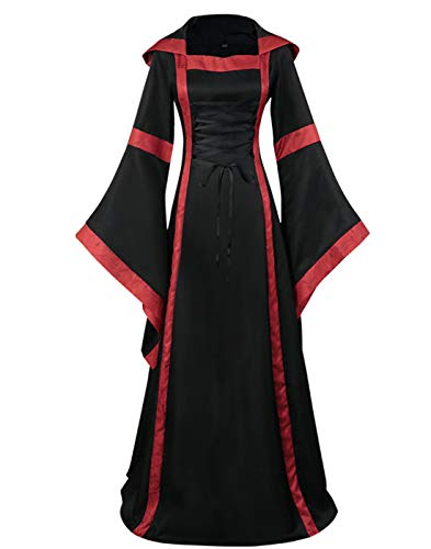 ZFCGEE Renaissance Hooded Costume for Women, Medieval Retro Square Collar Lace Up Flare Sleeve Gothic Gown Cosplay Long Dress (S (Bust:35.04''), ()