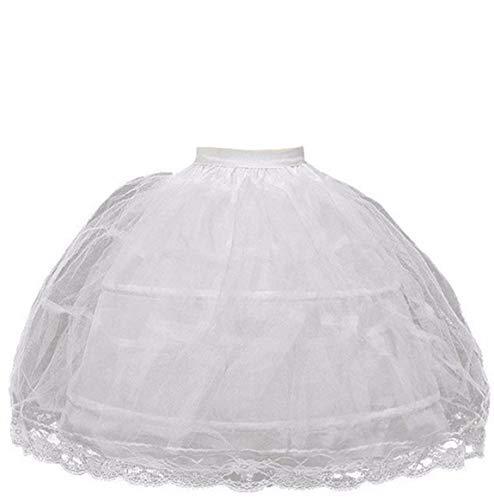 BRL MALL 2 Hoop White Girls' Petticoats Children Slip Flower Girl Petticoat (White 2)