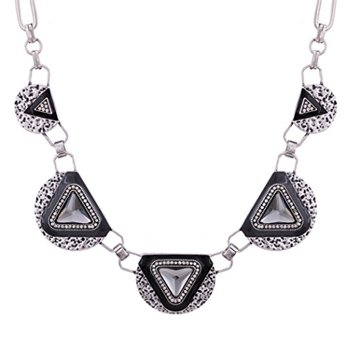 [Romantic Time (TM) Triangle Shape Bib Collar Statement Necklace Connect Chain Jewellery(Silver£] (Vintage Pin Up Girl Costume Ideas)