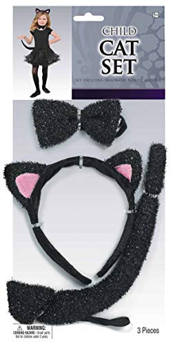 Amscan Glitter Cat Accessory Kit for Kids, One Size, 3 Pieces -