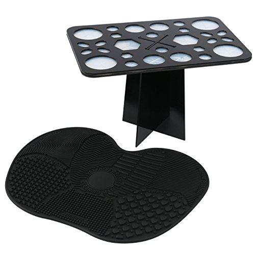 Cleaning Makeup Brushes - ESARORA Makeup Brush Cleaning Mat and 28 Holes Brush Drying Tower Set