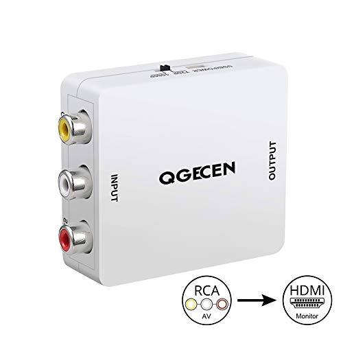 QGECEN 1080P RCA Composite CVBS AV to HDMI Video Audio Converter Adapter for Camera DVD VHS VCR PSP Xbox PS2 WII NGC to New HDTV Monitor or - Tv Adapter To Psp