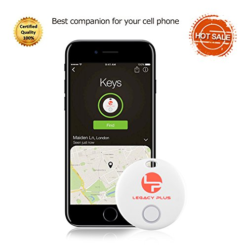Legacy Plus Bluetooth Key Finder Tracker Anti-Lost Chip Device | Mini Slim Long Range Tracking Beep Alarm Tag for Keychains, Wallets, Purses | Smart Anti-Theft Tile Dot Disc (Black or White) (Square Legacy)