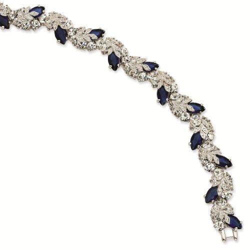 Silver-tone Swarovski Crystal Blue 7In with 1In ext Snowflake Bracelet – Jacqueline Kennedy Jewelry
