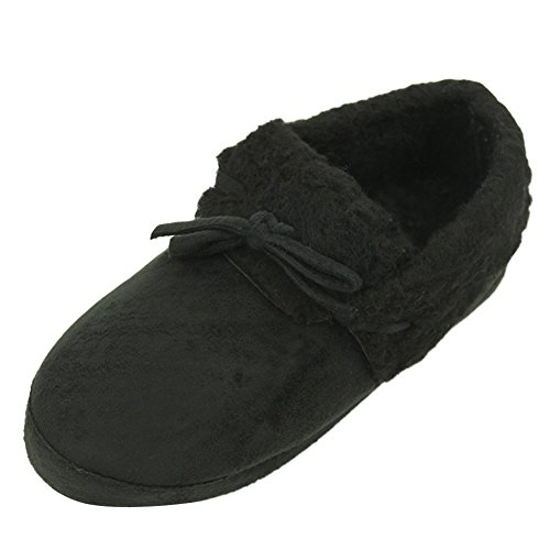 Home Slipper Womens Winter Warm Cute Bowknot Long Fleece Indoor House Scuff Slippers Black
