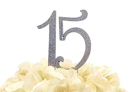 Large Real Rhinestone Number 15 Happy Birthday Quinceanera Anniversary Silver Cake Topper by Forbes Favors]()