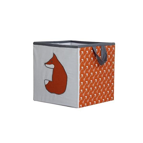 Bacati Playful Foxs Storage Box, Orange/Grey, Small
