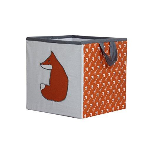 Bacati Playful Foxs Storage Box, Orange/Grey, Small by Bacati