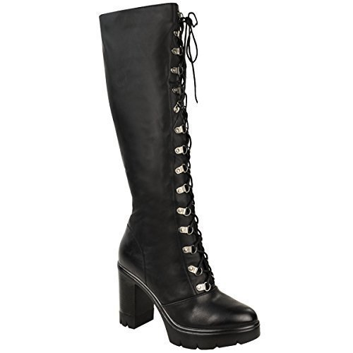Biker Black Faux Leather Ladies Up Womens Boots High Punk Lace Chunky Knee Heel Cleated Goth Block Sole 676rax0
