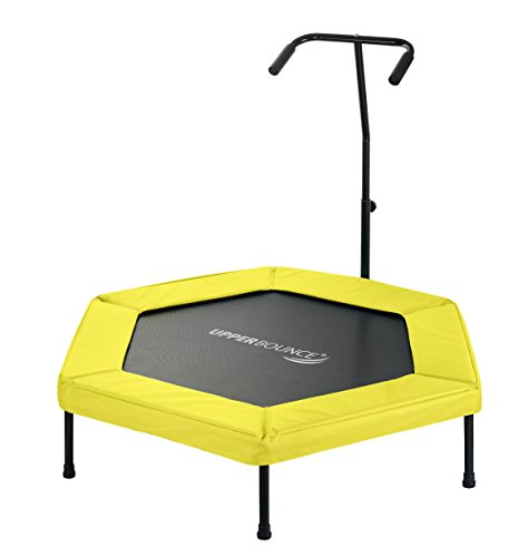 Upper Bounce Hexagonal Fitness Mini Trampoline with Adjustable Hand Rail & Bungee Cord Suspension, 50