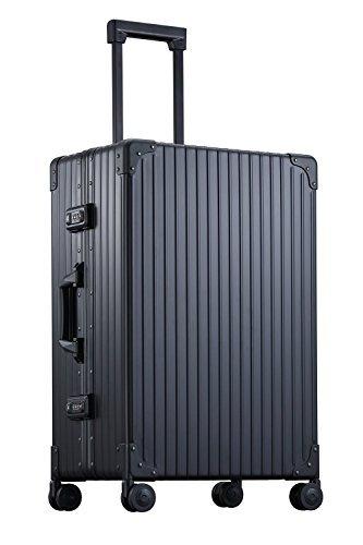 【NEO KEEPR】安心5年保証 TSAロック付 アルミ スーツケース キャリーケース シルバー/ブラック ネオキーパー 4輪/2輪キャスター 旅行 ビジネス お子様用にも 1泊~7泊 (Mサイズ(2-4泊用 4輪 38L)【A-48F-B】, ブラック) B016ZHMDU6