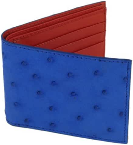 Ostrich Wallet, Bi-Fold w/ ID Holder, 9 Credit Card Slots Indigo Blue
