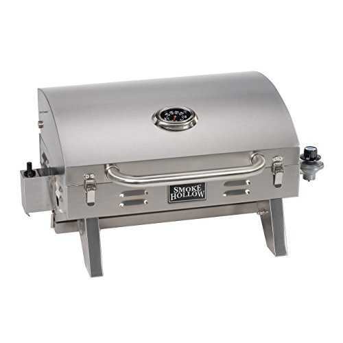 Barbecue Propane Grill - Smoke Hollow 205 Stainless Steel TableTop Propane Gas Grill, Perfect for tailgating,camping or any outdoor event