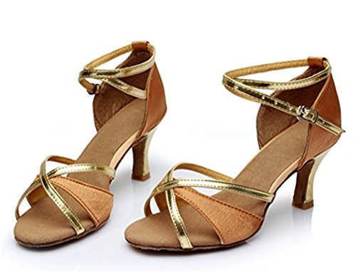 Adulta Latino Salón Zapatos de Alto Tacón de de Estándar YOGLY de Baile Marrón Baile Mujeres Zapatos Baile Para q1tccwO6n