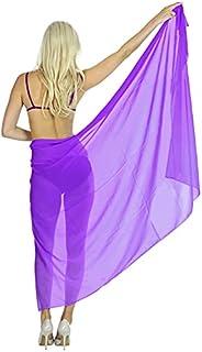 La Leela Lightweight Sheer Chiffon Plain Pareo Sarong Cover up 78X39 Inch Purple