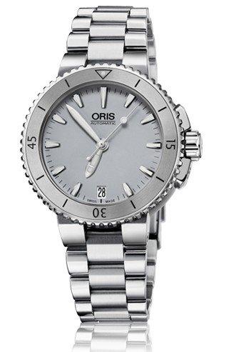 Oris Aquis Date Grey Dial Stainless Steel Ladies Watch 01 733 7652 4143-07 8 18 01P