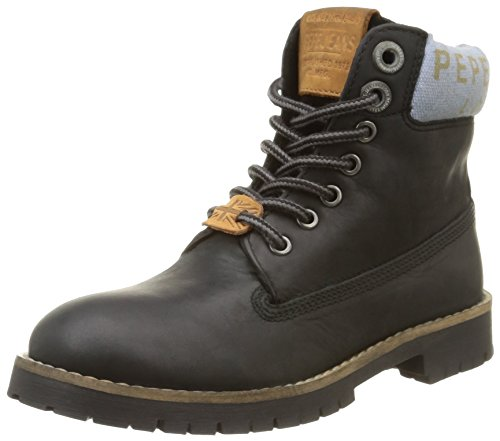 Pepe Jeans London Combat Collar Jungen Combat Boots Schwarz (999BLACK)