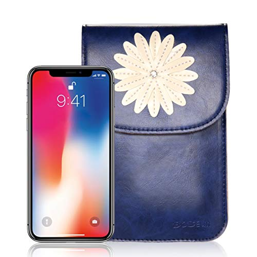 d5da7914cc57 Bosam iPhone Xs 8 Plus Purses, Soft Leather Cellphone Bags Crossbody for  Woman with Shoulder Strap Touch View Window (Blue)