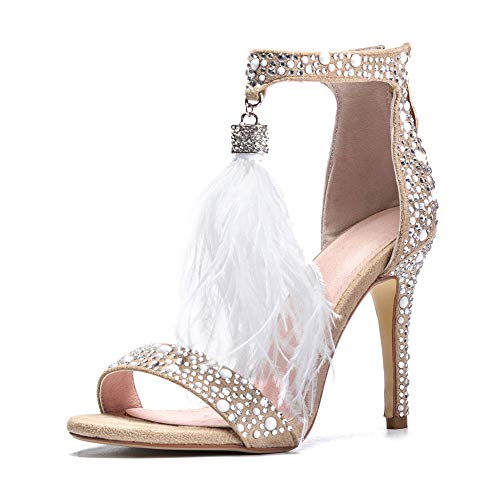 - AZMODO Women's Feather Ankle Strap Zip Rhinestone High Heeled Sandals 1622-74 (US 6.5-7/EU 37/CN 37), White