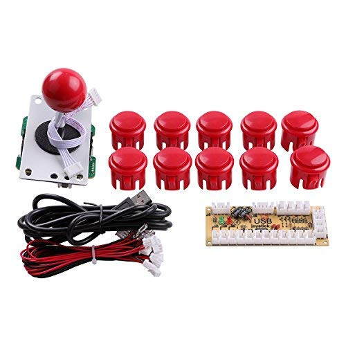 Easyget DIY Arcade Game Button and Joystick Controller Kit for Rapsberry Pi and Windows,5 Pin Joystick and 10 Push Buttons