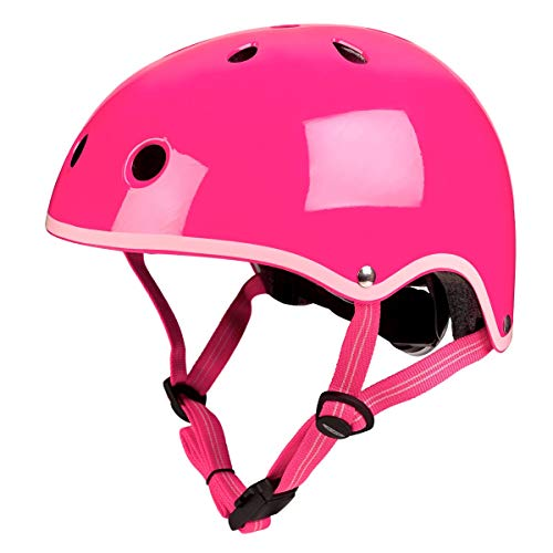 Micro Children's Deluxe Helmet For Girls Neon Pink Medium 53-57Cm Scootng Cycling Skating