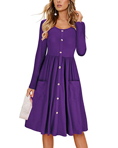KILIG Women's Dresses Long Sleeve Casual Button Down Swing Dress with Pockets(Purple,XL) (Purple Dress With Jewels)