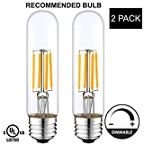 Light Accents Indoor/Outdoor Dimmable LED Filament Light Bulb T10, 4W (40W Equivalent), 400 lumens, 2700K (Warm White), Omnidirectional, Medium Base (E26) UL-Listed - (Pack of 2)