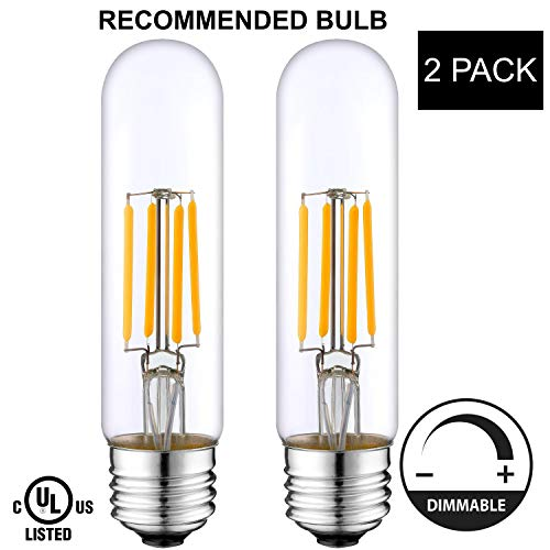 LightAccents Indoor/Outdoor Dimmable LED Filament T10 Light Bulb, 4 Watt (40W Equivalent), 400 lumens, 2700K (Warm White), Omnidirectional, Medium Base (E26) UL-Listed – (Pack of 2) Tubular Bulb T 10 (Tubular Light Outdoor)
