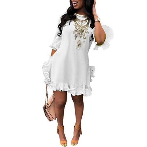 Cenglings Women's Sexy O Neck Solid Color Half Sleeve Pleated Irregular Ruffled Skirt Dress Flare Mini Dress White ()
