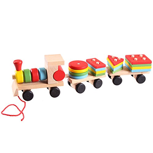 Vktech® Educational Kid Baby Wooden Solid Wood Stacking Train Toddler Block Toy Gift