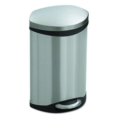 Safco Products 9901SS Ellipse Step-On Trash Can, 3-Gallon, Stainless Steel by Safco Products