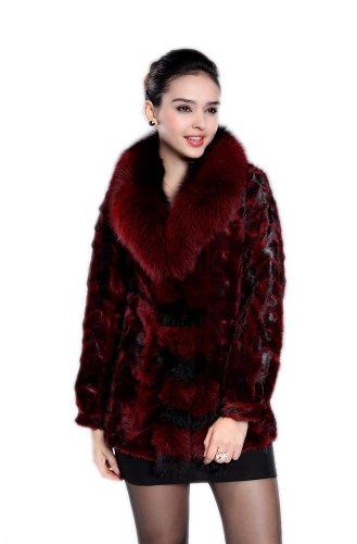 Queenshiny Women's 100% Real Mink Fur Coat Jacket with Super Fox Collar-Wine Red-L(12-14) ()
