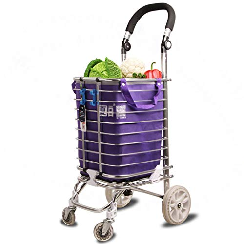 Zehaer Portable Trolley, Lightweight Shopping Trolley Foldable 4-Wheel Adjustable Handle 96 29 32cm Made of Aluminum Alloy by Zehaer (Image #2)