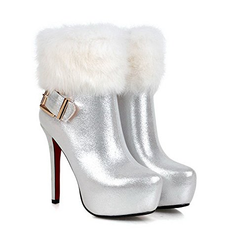 High Thread Toe Silver Toe Metal Heels Round and Closed AmoonyFashion Women's Buckles Boots with qwZ1XBA