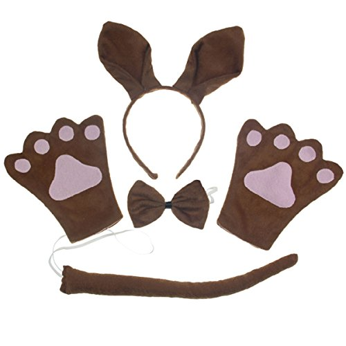 Kangaroo Baby Costume (Kids Brown Kangaroo Costume Headband Ears Tail Safari Dressup Costume Set 4PCS)