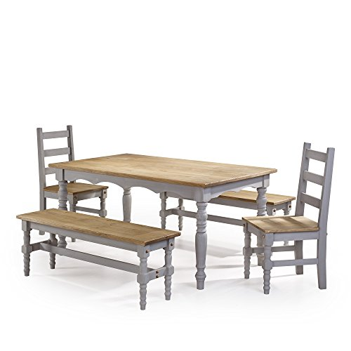 Manhattan Comfort Jay Collection Traditional Pine Wood 5 Piece Dining Set With Trim Design, With 2 Benchs, 2 Chairs, 1 Table Natural Wood/Gray - Collection 5 Piece Dining Room