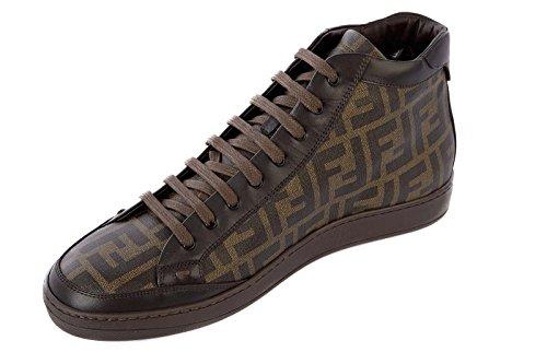 Fendi scarpe sneakers alte uomo in pelle nuove marrone  Amazon.it  Scarpe e  borse 3e1602a108f