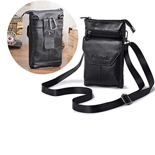 Pofomede Cell Phone Purse Crossbody Bag Belt Phone Holster Case with Belt Clip Loop for iPhone XR XS X 7 8 Plus XS Max Shoulder Pouch Men Women Waist Pack Large Phone Wallet Travel Hiking Work Black