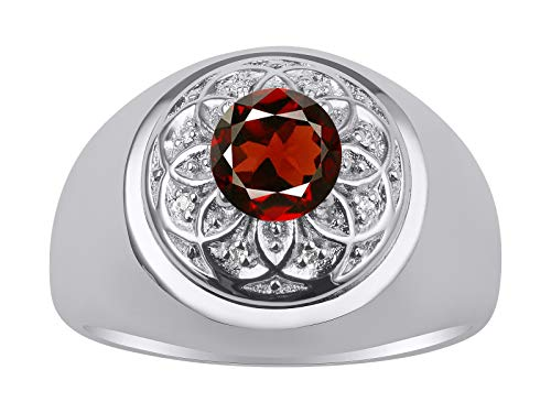 (Gorgeous 7MM Round Shape Gemstone Color Stone and Genuine Sparkling Diamonds Set in Sterling Silver .925)