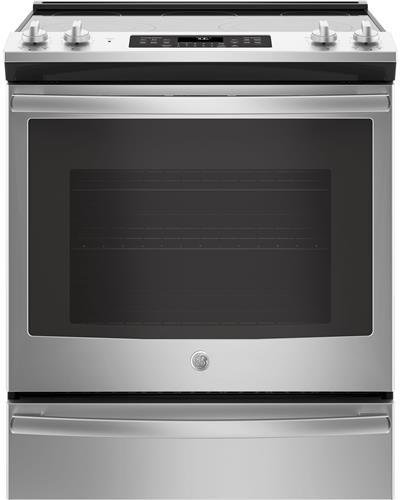 GE 5.3 Cu. Ft. Slide-In Electric Convection Range Stainless steel JS760SLSS