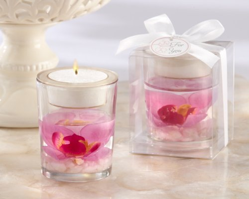 Elegant Orchid Tealight Holder (24) (Orchid Gel Candle Favor)