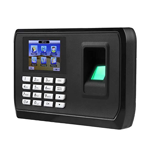 Fingerprint Attendance Machine 2.4 inch Display USB Biometric Time Clock Recorder Employee Checking-in Reader(US Plug)